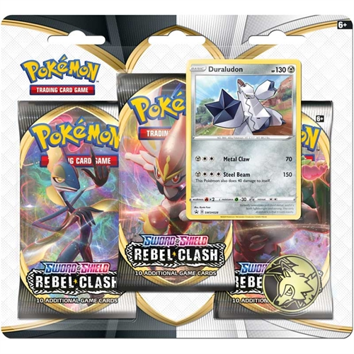 Pokemon Sword & Shield - Rebel Clash - 3-pack Booster Pakke - Duraludon